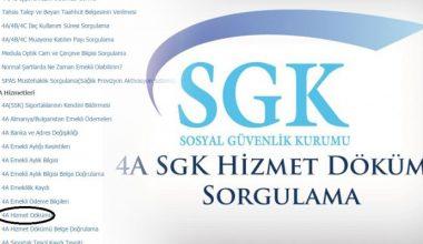 TC ile SGK 4A Hizmet Dökümü